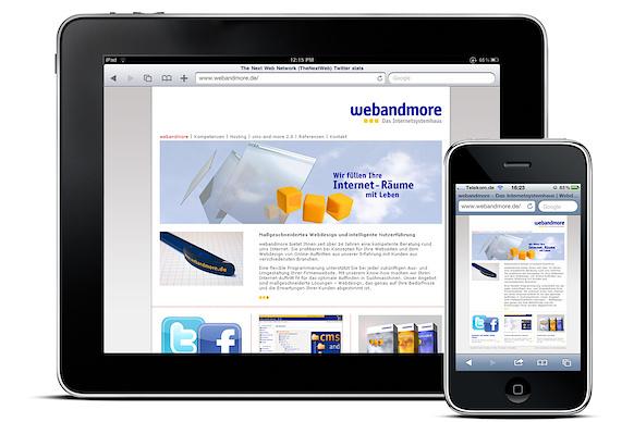 webandmore-Website auf dem iPad und dem iPhone