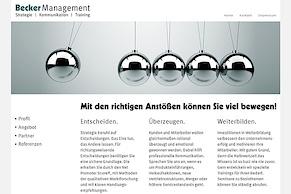 Die neue Website der Becker Management GmbH im Standard-Browser...