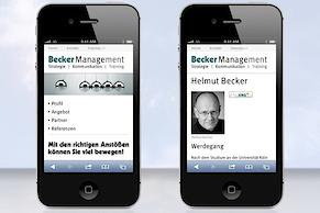 ... und unter Nutzung von Responsive Webdesign auf dem iPhone